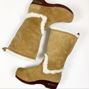 LUCKY BRAND Farrah Suede Faux Fur pull on boot NWT